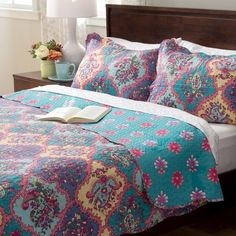 Slumber Shop Isabella 3 Piece Paisley Quilt Set w/ Floral Reversible Multi Color #SlumberShop #CasualClassicContemporaryCountryModernPa