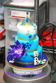 Frozen birthday cake. Original design with purple fantasy flower.