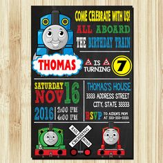 Invitaciones de tren THOMAS Thomas Train cumpleaños por ULYAQONITA