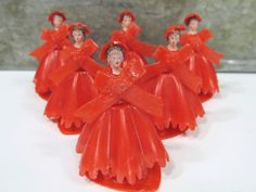 6 RED Bridesmaid Cake Toppers, Vintage Bridal Shower Decoration, Wedding Reception, Plastic by UrbanRenewalDesigns on Etsy