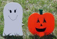 Halloween craft / decoration Ghost and pumpkin yard decorations