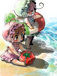 Baby Lovino and Feliciano at the beach - Art by ポンデコ