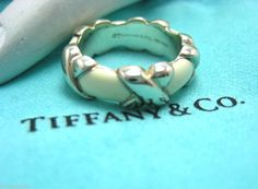 TIFFANY & Co Sterling Silver Wide Cross X Love Ring with White Enamel Size 4 #TiffanyCo