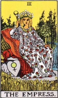 The Empress is the third trump or Major Arcana card in traditional Tarot decks. It is used in Tarot card games as well as divination. Religion Wicca, Tarot Significado, Major Arcana Cards, Rider Waite Tarot, Free Tarot Reading, Tarot Astrology, Tarot Card Meanings, The Empress, Tarot Readers