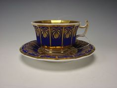 Antique German KPM Porcelain China Cobalt Blue Gilt Cup Saucer