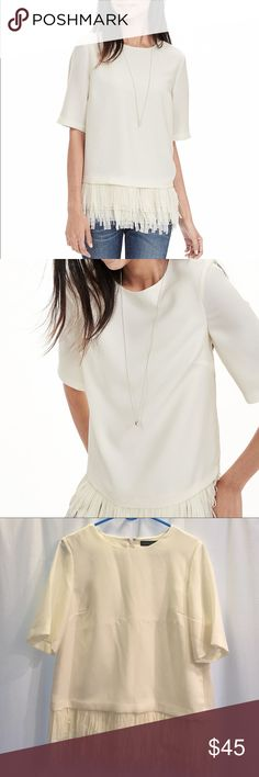 Banana Republic White Crepe Fringe Blouse, sz M Banana Republic White Crepe Fringe Blouse, sz M. Beautiful white Blouse for any occasion. Never worn (still has creases from online shipping box)! Banana Republic Tops Blouses