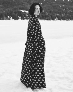 LOTUS PRINT FLANNEL GOWN | Soft and warm brushed cotton flannel. Long sleeves. Two patch pockets at front. Wide tie belt. Internal stay ties. Lined in cotton.