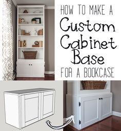 Free digital plans on how to build a cabinet base for any bookcase, plus shaker-style cabinet doors.