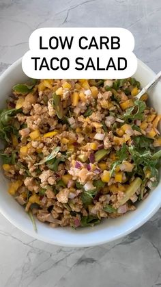 "Amanda Nighbert, Dietitian on Instagram: ""Low carb taco salad! #yummy"" Low Carb Taco Salad, Taco Salad Recipes, Low Carb Tacos, Lean Recipes, Crockpot Recipes, Healthy Recipes, Eat Healthy, Healthy Habits, Lean Meals"