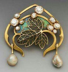 Art Nouveau Plique-à-Jour Enamel, Pearl, Diamond, and Gold Leaves Brooch  Ca.1900 by Georges Fouquet, France