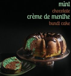 Finally! A homemade, from-scratch Chocolate Crème de Menthe Bundt Cake that doesn't use a cake mix or pistachio pudding. Perfect for St. Patrick's Day too!