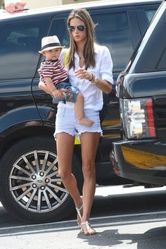 Alessandra Ambrosio and her son Noah stop by the Brentwood Country Mart in Brentwood, California on July 2, 2013