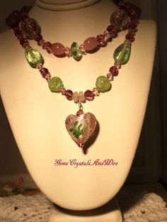 OOAK Swarovski and lampwork necklace. #Valentine  #handmade