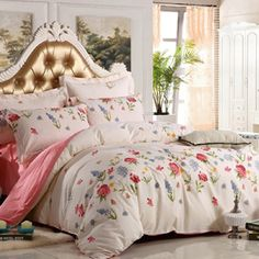 Amazon.com - Ttmall Twin Full Queen Size 100%cotton 4-pieces Pink Purple Lavender Dandelion Printed Duvet Cover Sets/bed Linens/bedding Sets/bed Sets (Twin, (1flat Sheet+1duvet Cover+2pillowcases)-36) -