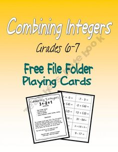 Combining Integers FREE download. @Rachelle Scott this might be fun :)