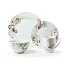 #DEAL,$54 Mikasa® Silk Floral Pink 16 Piece Dinnerware Set was $288