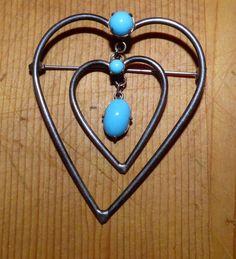 Jay Kel Sterling Silver pin brooch - Heart within heart turquoise vintage signed #JayKel