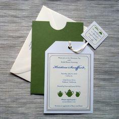 Bridal Shower Invitations - Tea Party Themed Tea Bag Shaped -