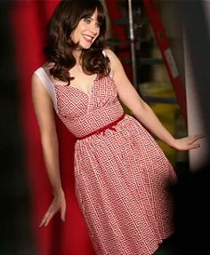 Zooey Deschanel's Red square printed dress on New Girl Season 3 Promos.  Outfit details: http://wwzdw.com/z/4252/