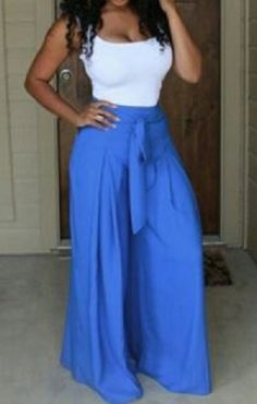 Sexy U-Neck White Crop Top and Blue Pants Twinset For Women #Blue #White #Resort #Style #Fashion #Twinset