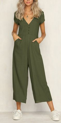 83d08810a1 Sexy Short-Sleeved V-Neck Button Holiday Jumpsuit For Women Solid Color  JUSTREDCOCO Chic Jumpsuit