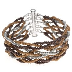 Metal seed beads are strung and woven together in a loose ten strand braid in this interesting, textural bracelet.