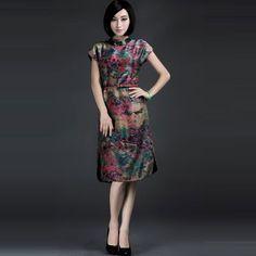 Slant Collar Watered Gauze Vintage Chinese Dresses Retro - $309 - SKU: 897766 - Buy Now: http://elegente.com/nzx.html #ChineseladyQipao #Qipao #Cheongsam