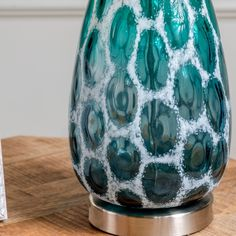 Isabel Teal Glass Table Lamp - Overstock - 32668204 Teal Table Lamps, Gold Couch, Crestview Collection, Lamp Shade Store, Teal Colors, Drum Shade, Lamp Shades, Glass Table, White Fabrics