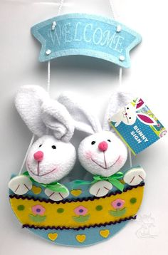 Bunny Blue Green Ribbon Hanging Welcome  Plush Easter Decor New #Unbranded