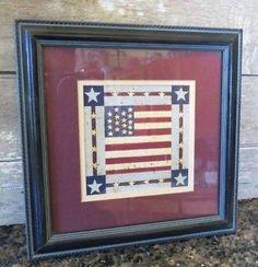 FRAMED PRINT Warren Kimble American Folkart Flag Square AMERICAN FLAG
