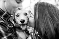 Bride's best friend is her dog and is included in this couple's Saratoga, NY Fall engagement photography with dogs