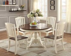 """Furniture Of America Janessa Two Tone 18"""" Extendable Leaf Dinner Table Vintage White & Dark Cherry"""