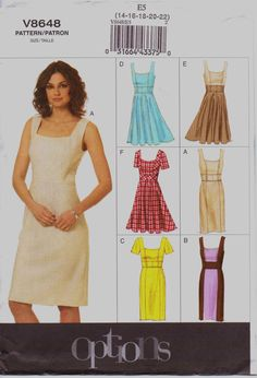 Vogue Easy Options Sewing Pattern Womens Dress with Waist Detail Size 14 16 18 20 22 Bust 36 38 40 42 44 UnCut Vogue Dress Patterns, Dress Making Patterns, Vogue Sewing Patterns, Clothing Patterns, Diy Clothes, Clothes For Women, Teacher Clothes, Sewing Clothes, Miss Dress