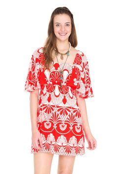 vestido manga ampla estampa leques - Vestidos | Dress to