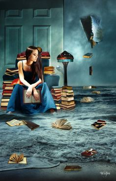 ✯ The Bibliophile :: By *Wildfire2003 ✯    this reminds me of my main protagonist, weird
