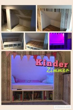 Gypsum-box roof bed and Ikea .- Bett in Dachschräge aus Gipskarton und Ikea Bed in sloping ceilings made of plasterboard and Ikea - Ikea Kids Room, Kids Bedroom, Cozy Reading Corners, Bed Nook, Plasterboard, Dreams Beds, Attic Rooms, House Beds, Sloped Ceiling
