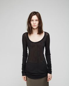 Shop Fashion on La Garconne, an online fashion retailer specializing in the elegantly understated. Ribbed Top, Rick Owens, Vintage Looks, Fashion Online, Scoop Neck, Topshop, Slim, Tees, Shirts