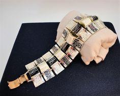 60s Art deco Large metal enamel links Black/White Cuba Souvenir  Bracelet by LoukiesWorld on Etsy