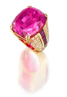 A rubellite and diamond ring.