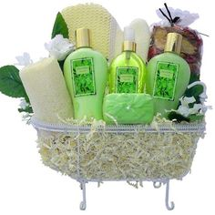 Essence of Jasmine Spa Bath and Body Gift Basket Set by Art of Appreciation Gift Baskets. $49.99. Designed to pamper and delight on her special day, she will feel so rested, relaxed and pretty with all these luxurious spa bath and body products arranged in a whimsical bathtub caddy. Indulge her with lightly scented Jasmine bath gel, moisturizing lotion and body spray, add fun jasmine bath confetti, French milled soap, exfoliating body scrubber, then scent the air around her w...