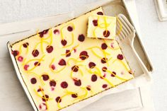 White chocolate, orange and raspberry cheesecake slice main image