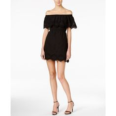 kensie Crochet-Trim Off-The-Shoulder Dress ($99) ❤ liked on Polyvore featuring dresses, black, off the shoulder dress, day to night dresses, kensie dresses, kensie and crochet trim dress