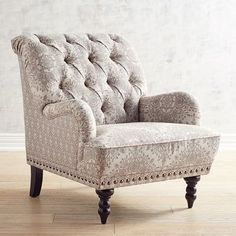 Come home to a comfortable seat. Overstuffed and hand-tufted, our Chas Armchair comes with vintage charm to spare: Rolled back, English arms, hand-applied nailhead trim, self-welting and turned hardwood legs. It's upholstered a rich tone-on-tone print. Living Room Update, My Living Room, Living Room Chairs, Lounge Chairs, Small Living, Kids Bedroom Furniture, Diy Bedroom Decor, Furniture Design, Home Decor