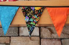 Fabric Banner - Fabric Bunting - Happy Birthday - Black – Version 3 by monkeyandlamb on Etsy