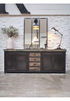 Meuble atelier en bois et metal