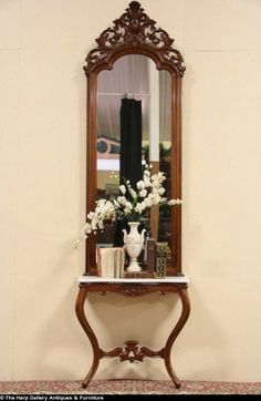 Amazing English Victorian Hall Or Pier Mirror U0026 Marble Console Table Set