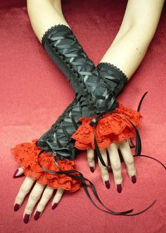 Laced Up Gypsy Armwarmers, Black and Red Gloves with Lace Ruffle, Corset,Halloween,Tribal Dance and Gothic Styles, Vampire Wedding Gloves