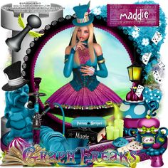 """GraphFreaks: Combine CT Tags and Snags for GraphFreaks and Bibi's Collection with their match """"Maddie Hatter"""" New magical kit by Bibi's Collection called """"Maddie  Hatter"""" PTU, with a palette of teals, purples, yellows and  white, lots of fun elements and papers, matching this  gorgeous tube by GraphFreaks by the same name, this  beautiful tube is inspired in """"The Mad Hatter"""" of  """"Alice In  Wonderland"""" both available now only at Scraps & Company   http://graphfreaks.blogspot.com/20"""