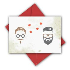 Hipster Valentine's Day Gay Card  Gay Wedding Card by JacobyDesign