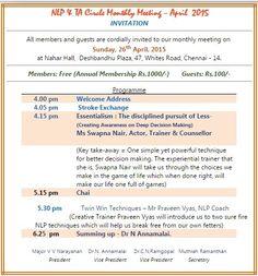 NLP TA Circle Meet April 26th 2015